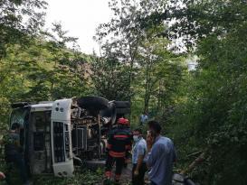 Çöp kamyonu devrildi;3 yaralı